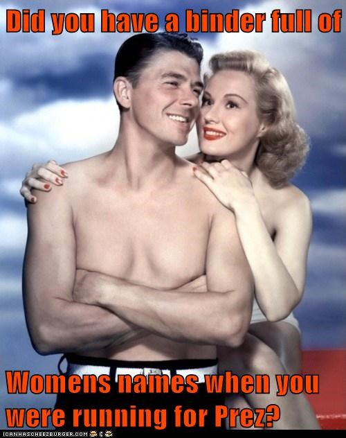 reagan president actor shirtless binders full of women