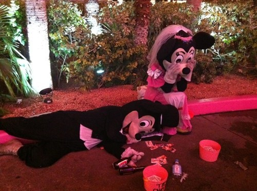 mickey mouse,minnie mouse,passed out