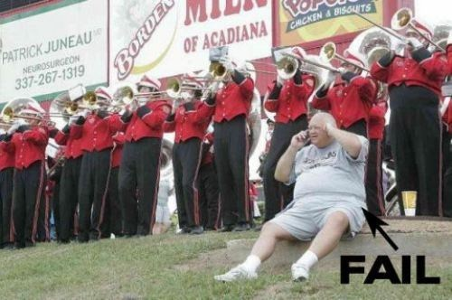 marching band,plugging your ears