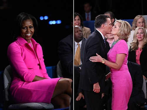 Michelle Obama,anne romney,hot pink
