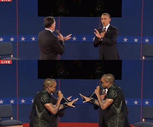kanye west barack oboma Mitt Romney presidential debates - 6680833792