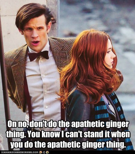 ginger,oh no,apathetic,cant-stand-it,karen gillan,the doctor,Matt Smith,doctor who,amy pond