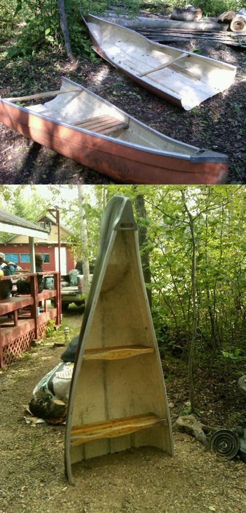 canoe bookshelf canookshelf recyclart - 6680880896