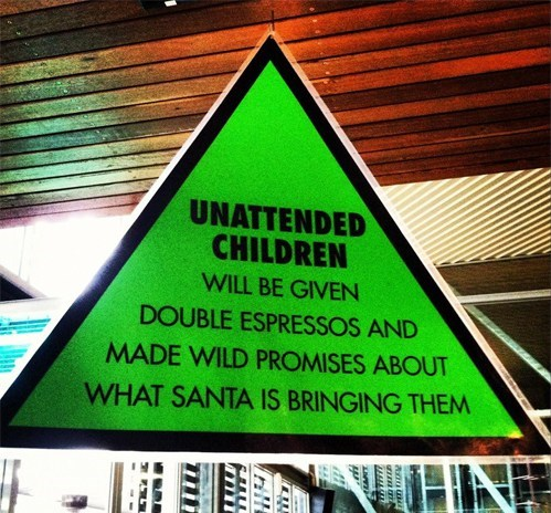 warning sign,unattended children,santa