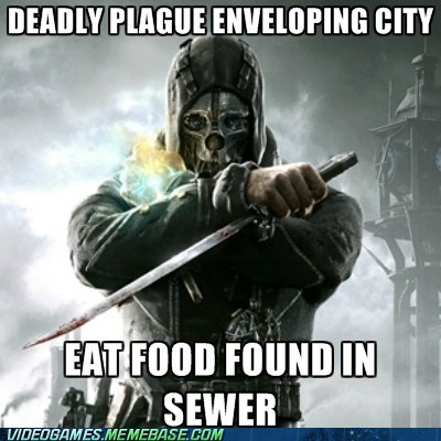 dishonored,rat skewers,plague,video game logic