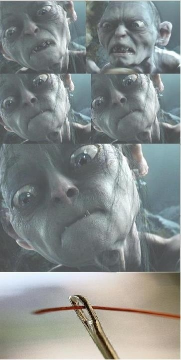 golum,needle,thread,Lord of the Rings