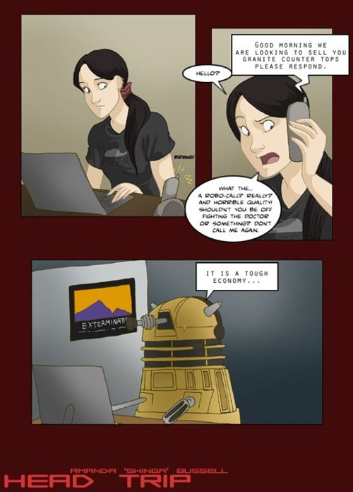 daleks,comic,doctor who,robo-call,economy,telemarketing