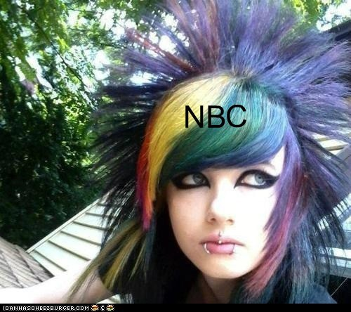 NBC,peacock,logo,emo hair,rainbow