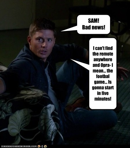 remote,jensen ackles,bad news,dean winchester,oprah,football,desperate