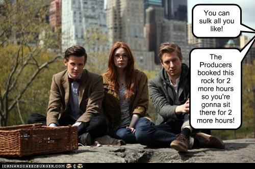 rory williams,producers,karen gillan,rock,the doctor,sulk,Matt Smith,doctor who,amy pond,arthur darvill