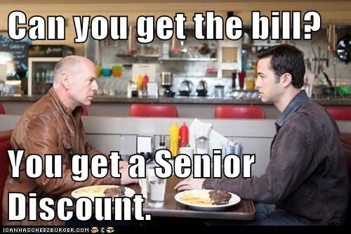 old joe bruce willis future self senior discount restaurant bill Joseph Gordon-Levitt looper check - 6682758912