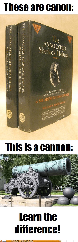 spelling matters,canon,cannon,grammar