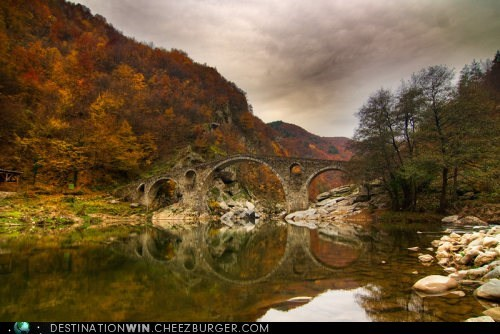 bridge bulgaria design river reflection fall - 6682863104