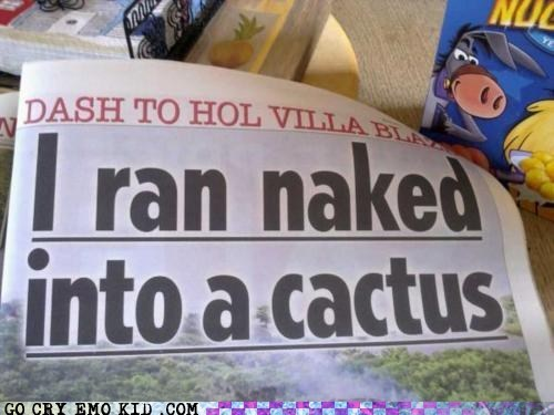 running,cactus,newspaper,oops