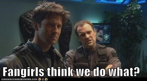 slash,john sheppard,rodney mckay,what,confused,fanfiction,fangirls,david hewlett,joe flanigan