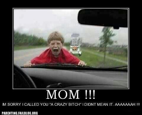 car,crazy mom,bad child,driving
