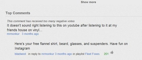 hipster,vinyl records,youtube comments