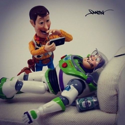 passed out,toy story,woody,buzzed