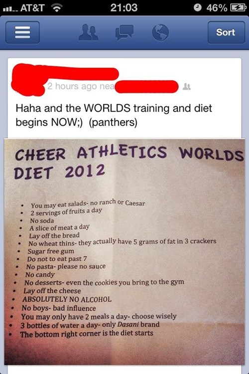 wtf anorexia bulimia cheerleader starvation diet cheerleader diet