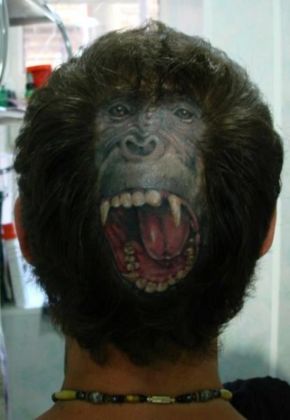 gorilla,head tattoos