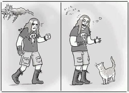 goth metal angry Cats comics illustrations happy yay - 6684182016