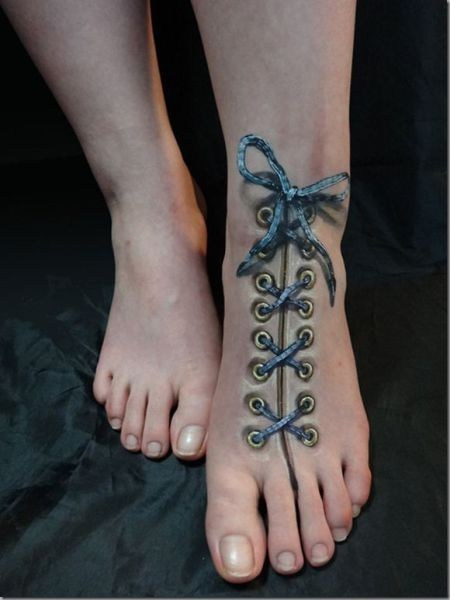 foot tattoos,shoe laces