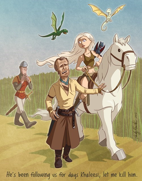 Daenerys Targaryen khaleesi Dirk the Daring dragons-lair pun Fan Art mash up - 6684372992