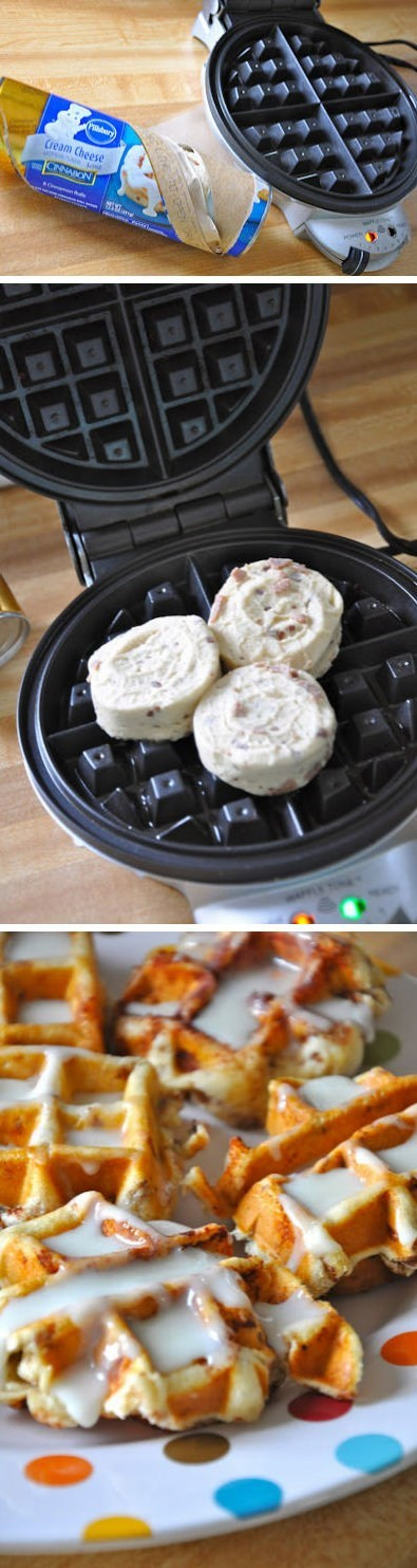 cinnamon roll waffles breakfast - 6684667392