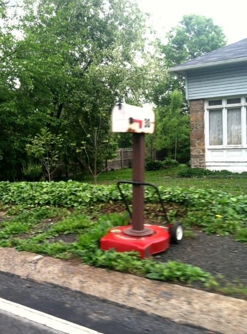 lawnmower,mower,mailbox