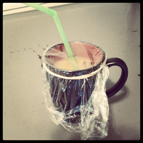 lidless,rubber band,coffee,cup,mug