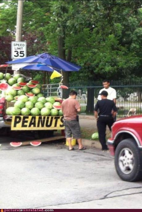 peanuts,watermelon,fruit stand