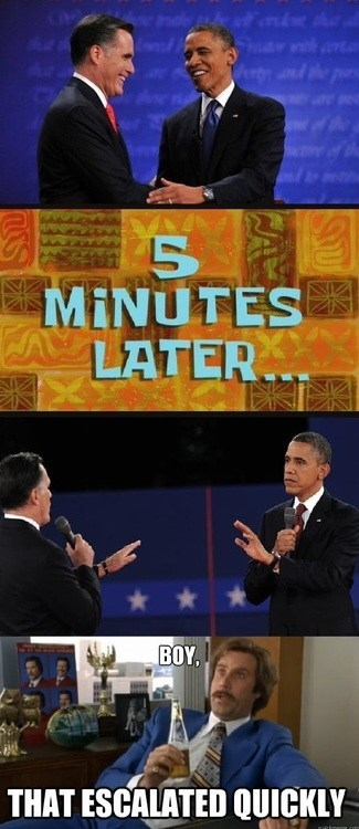 barack obama,Mitt Romney,boy that escalated quickly,Will Ferrell,Ron Burgundy,debate,five minutes,later,fighting,shake hands