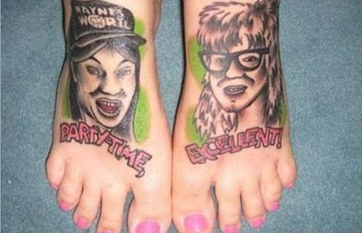 waynes world,feet tattoos