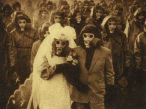 gas masks wedding vintage adorable spooky