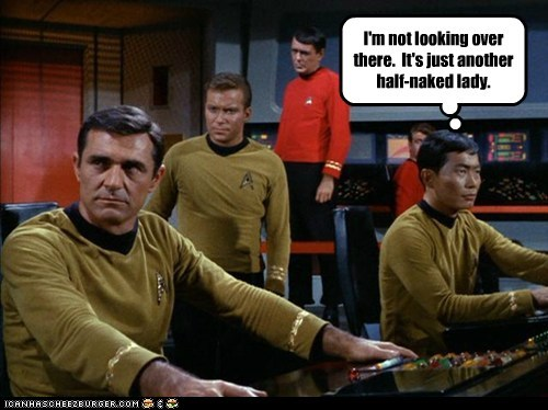 Captain Kirk scotty gay William Shatner not looking Shatnerday james doohan sulu george takei - 6684888064