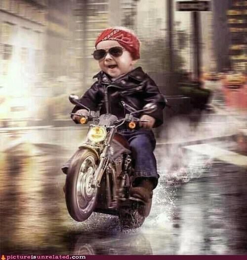 motorcycle,cool,leather jacket,baby,shopped pixels