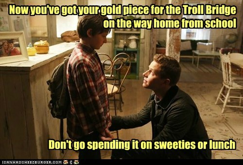 sweets Jared Gilmore school prince charming Henry Mills lunch josh dallas david nolan bridge gold piece trolls