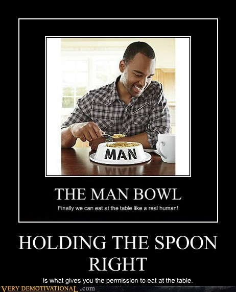 spoon dish dogs man