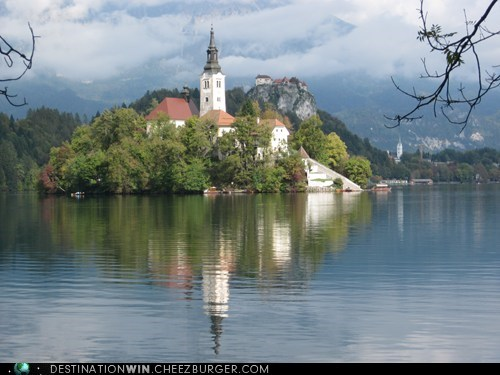 nature,island,Slovenia,lake