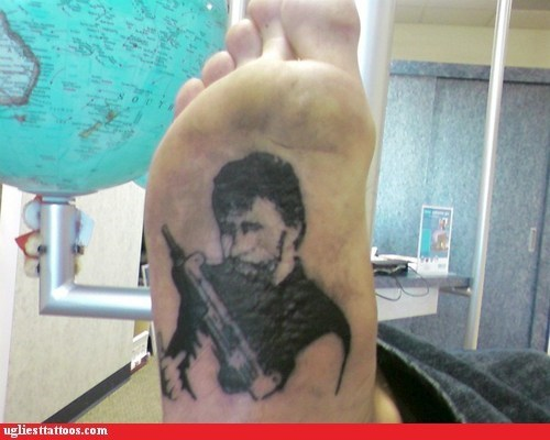 guns,chuck norris,foot tattoos