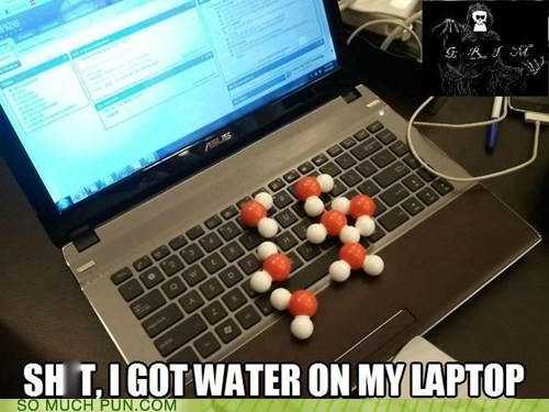 water,on,laptop,literalism,double meaning