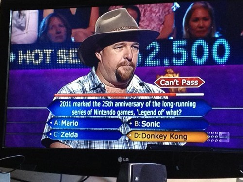 who wants to be a millionaire,legend of zelda,donkey kong