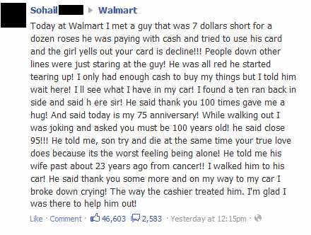 faith in humanity,good samaritan,Walmart,cashier