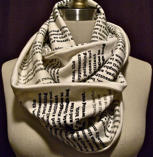 scarf,print,words,book