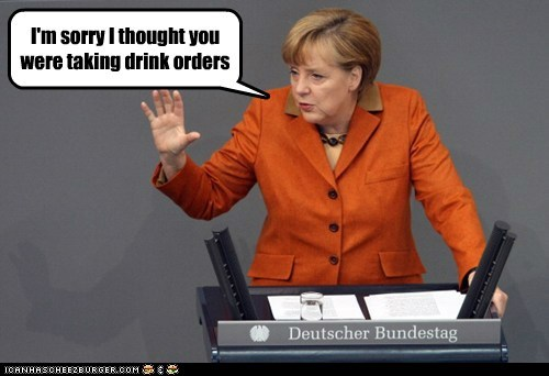 drinks,orders,waiter,angela merkel,confused,sorry