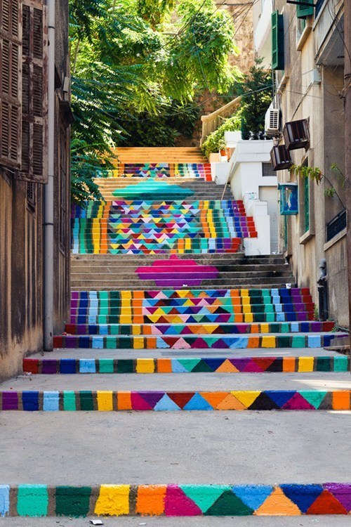 beirut hacked irl Street Art graffiti stairs pretty colors - 6688032000