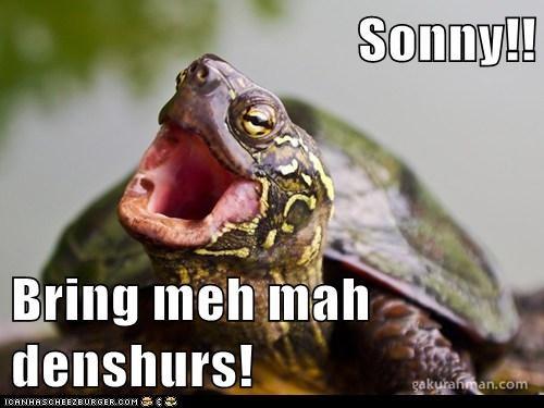 Sonny!!  Bring meh mah denshurs!