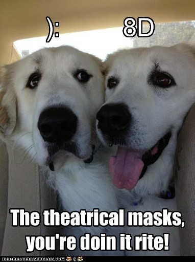 dogs,car,comedy and tragedy masks,theater,great pyrenees