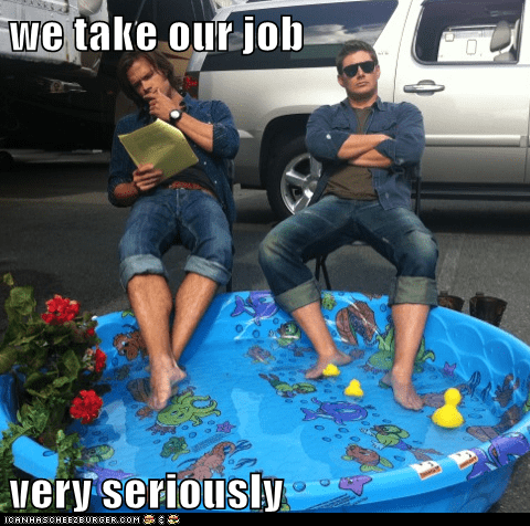job,jensen ackles,ducklings,Supernatural,dean winchester,sam winchester,kiddie pool,Jared Padalecki,taking things seriously