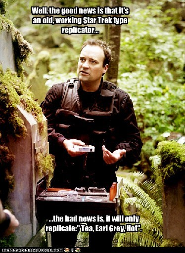 hot earl grey Captain Picard rodney mckay tea Star Trek david hewlett Stargate replicator